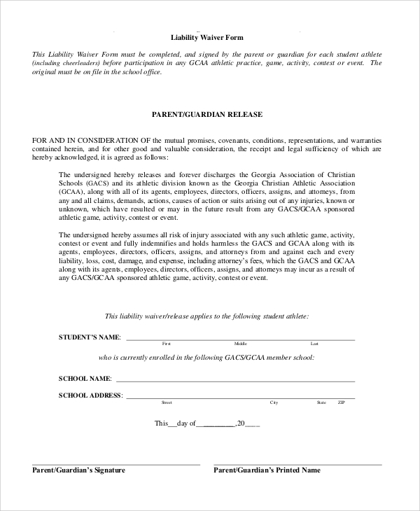 Doc.#400518: Liability Waiver Template – Release Of Liability Form
