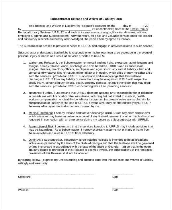 Subcontractor Waiver Of Liability Form