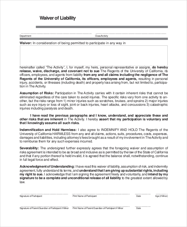 General Liability Waiver Example  Product Liability Disclaimer Template