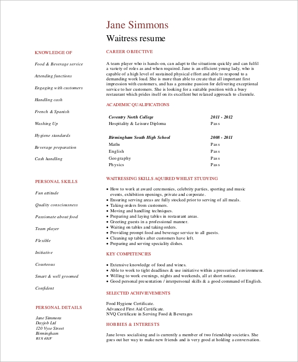 Sample Waitress Resume   Examples In Word Pdf