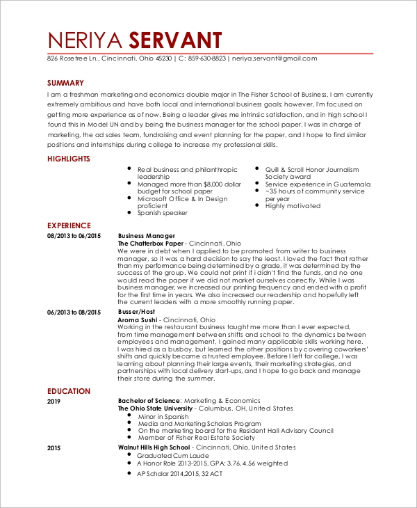 entry level waitress resume