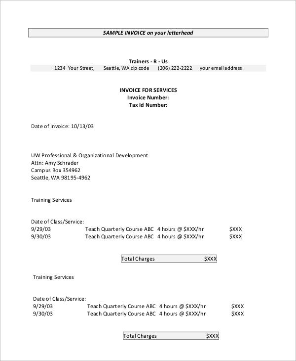 sample invoice letterhead