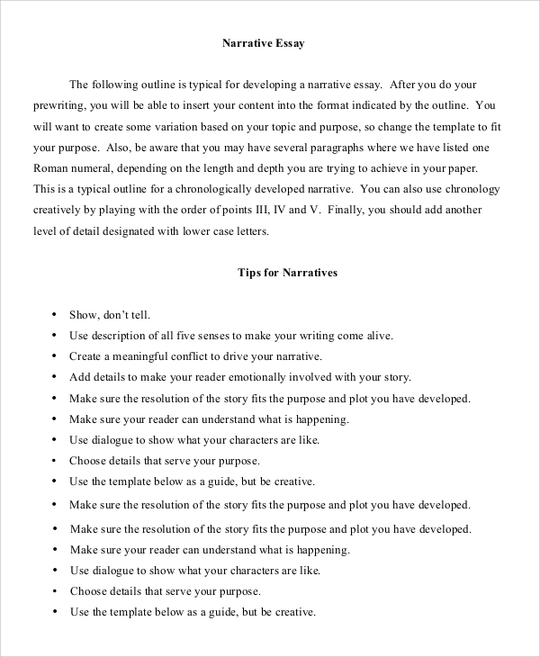 a narrative essay outline Narrative essay the following outline is typical for developing a narrative essay after you do your prewriting, you will be able to insert your content into the.