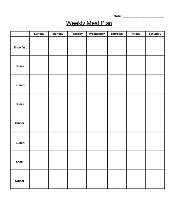Sample Weekly Meal Plan   Examples In Pdf