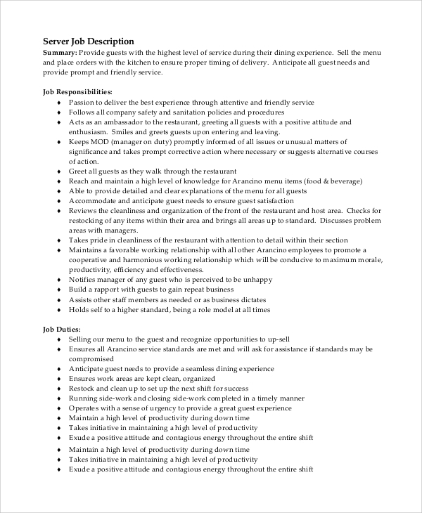 server job description for resume - Job Description Sample Resume
