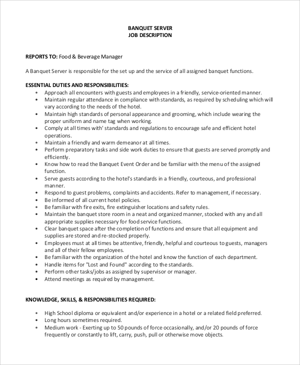 Sample Server Job Description   Examples In Pdf