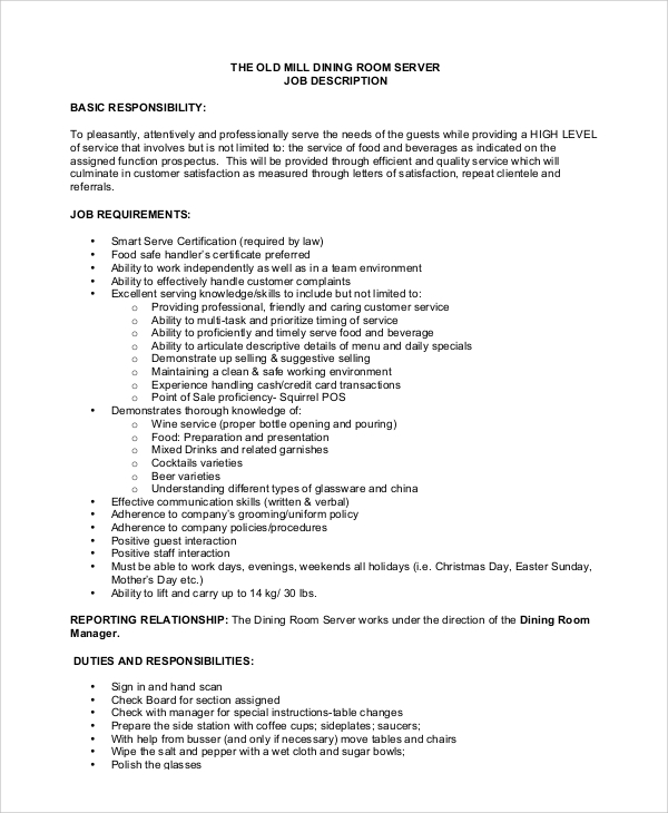 sample server job description 8 examples in pdf