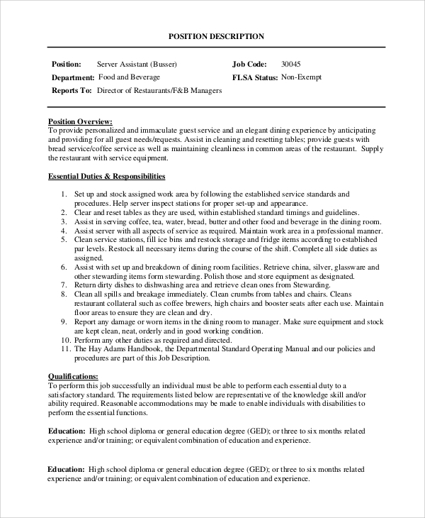 server assistant job desciption. Resume Example. Resume CV Cover Letter