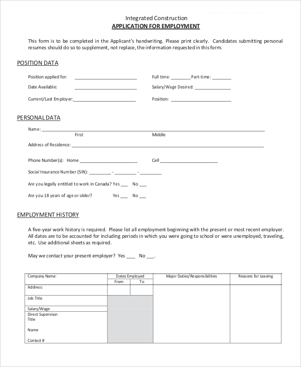 Sample Employment Application - 9+ Examples in Word, PDF