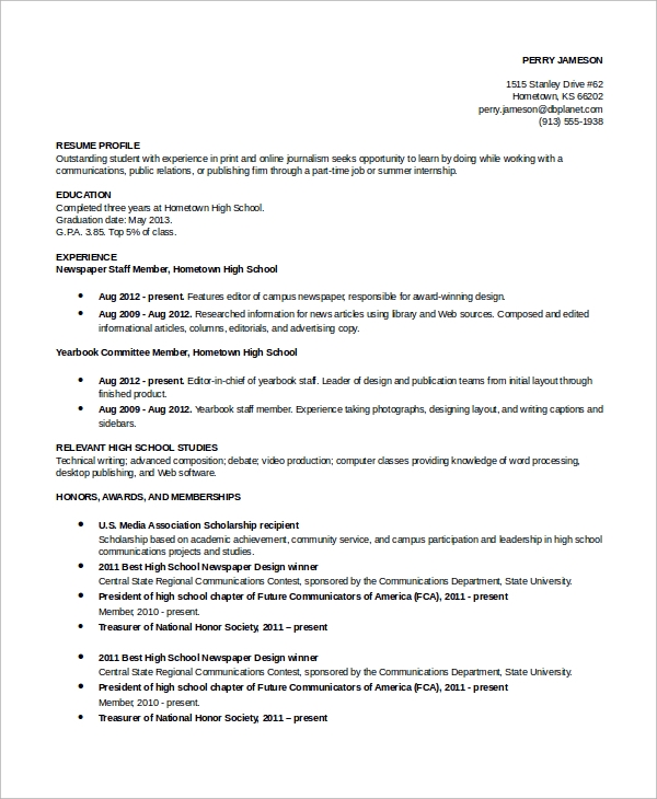 Student Resume Example - 7+ Samples In Word, Pdf