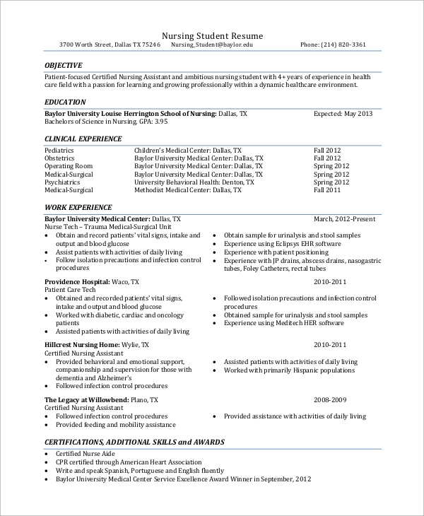 Student Resume Example   Samples In Word Pdf