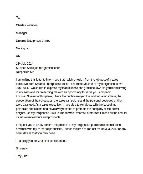 sales job resignation letter