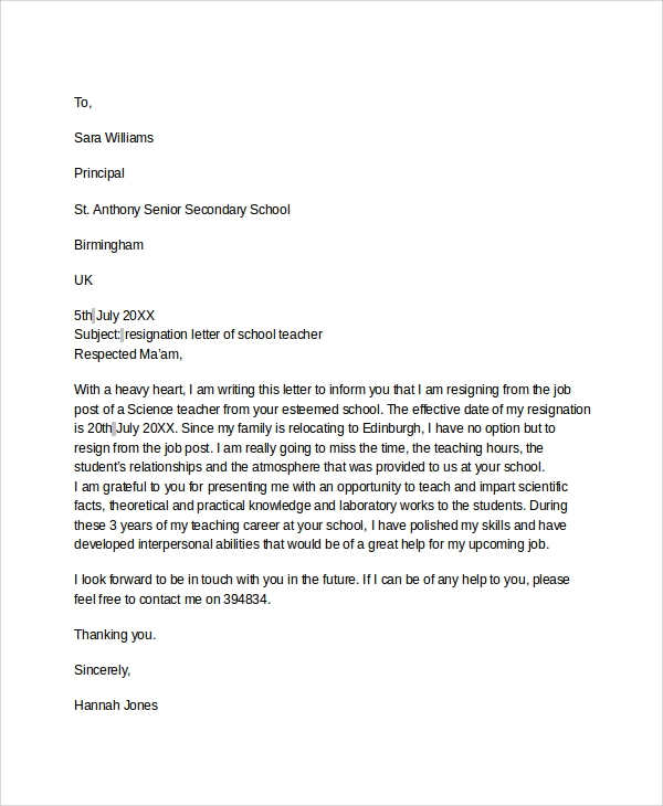 7 sample resignation letters sample templates senior teacher resignation letter sample spiritdancerdesigns Image collections