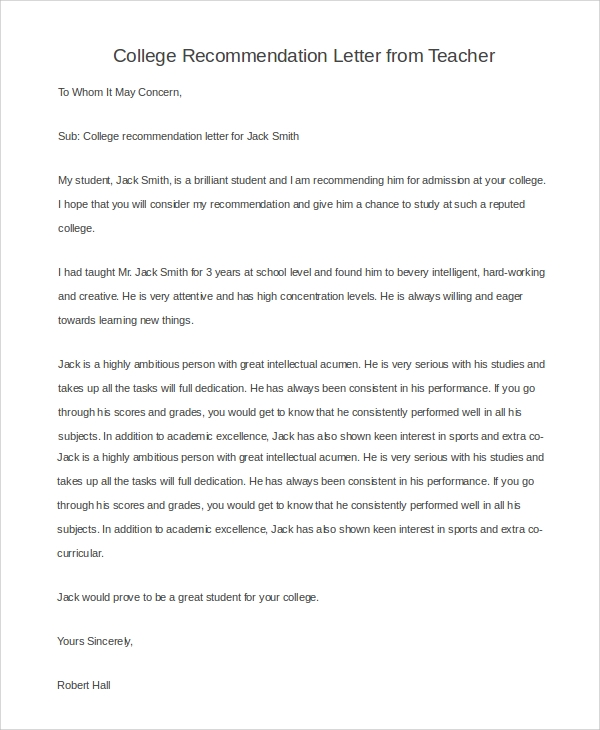 Sample Teacher Recommendation Letter Sample Of A Recommendation