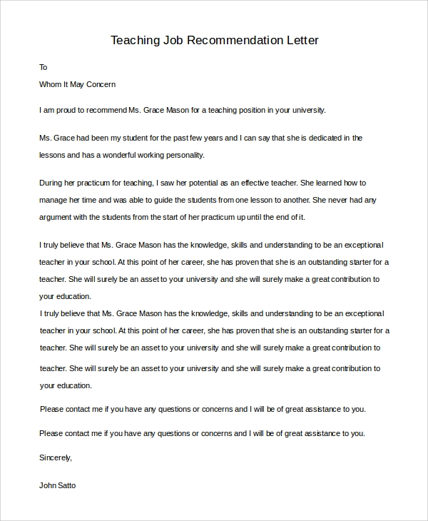 Recommendation Letter Sample For Student From Professor from images.sampletemplates.com