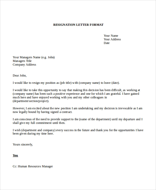 Resignation Letter Sample For Company
