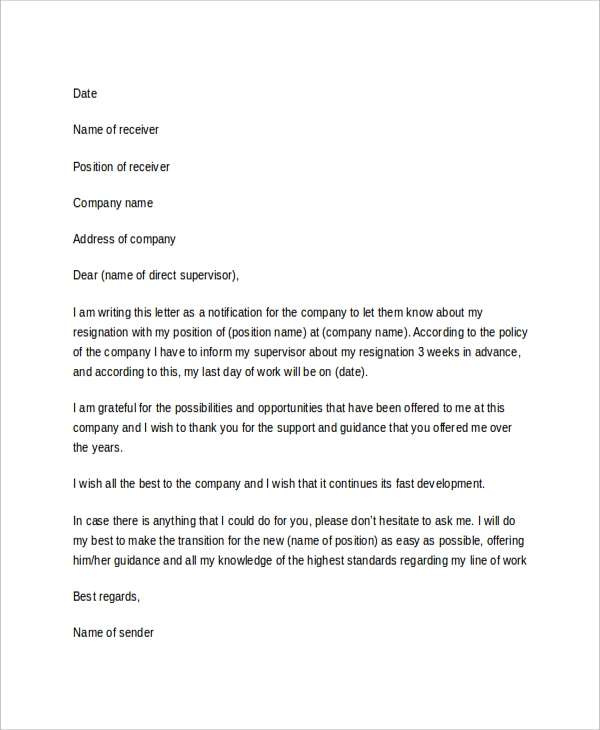 Sample Resignation Letter 7 Examples in Word PDF – Sample of Professional Resignation Letter