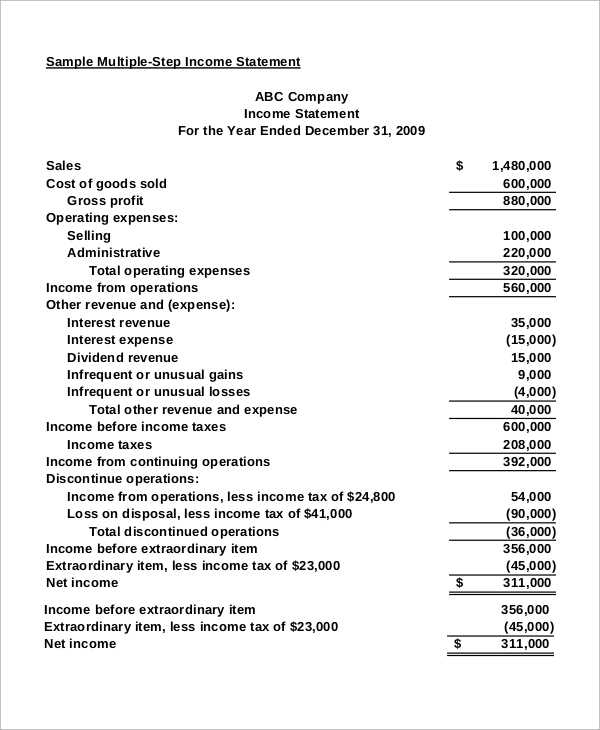 Sample Income Statement   Examples In Excel Pdf