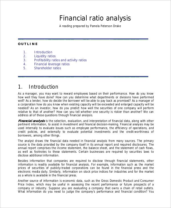 financial ratio analysis 1