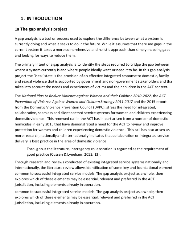 gap analysis project literature review