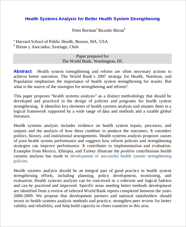 health systems analysis1