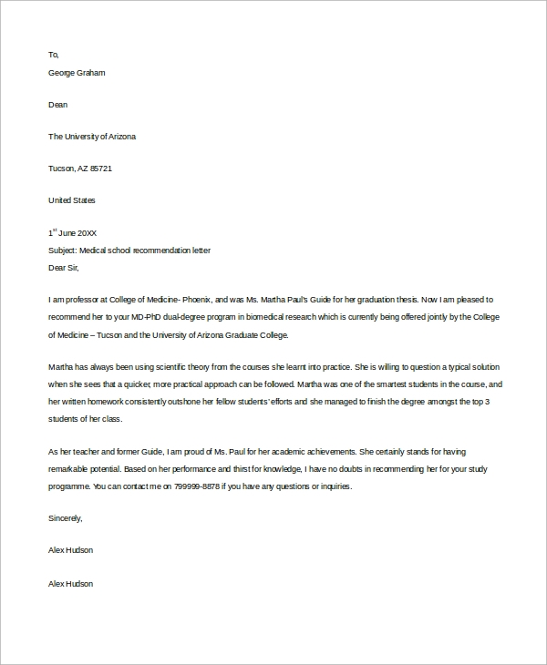 Example Letter Of Recommendation   Samples In Word Pdf