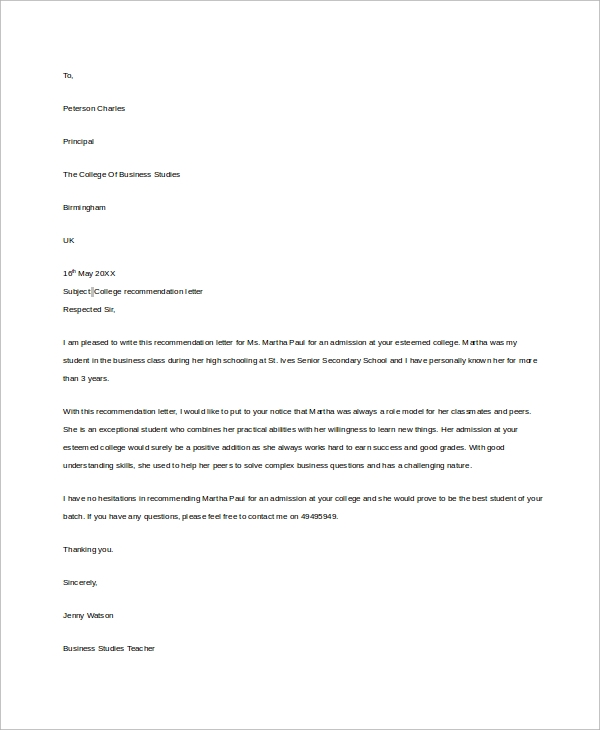 example letter of recommendation