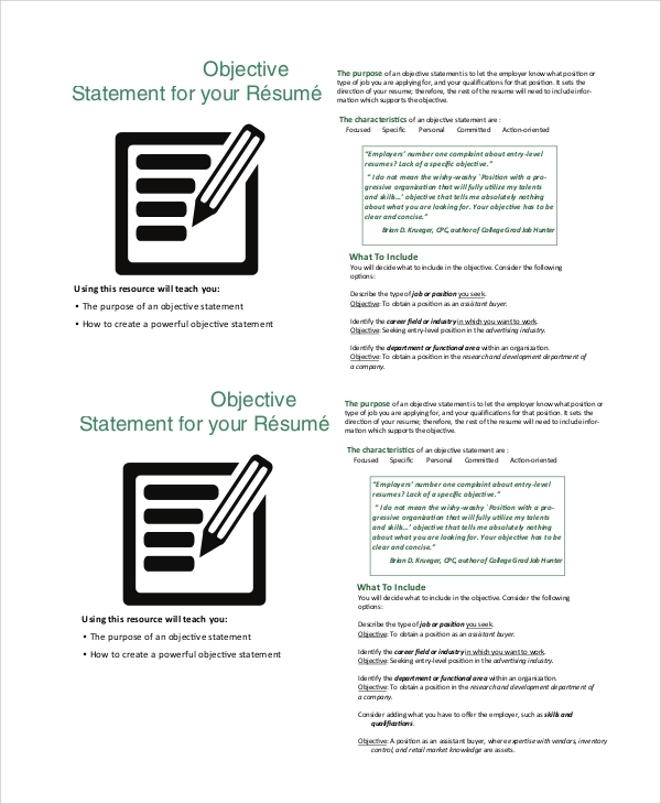 8 Objective Statement Resume Samples: 8+ Sample Good Resume Objectives