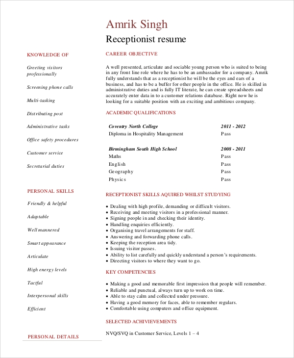 sample good resume objective
