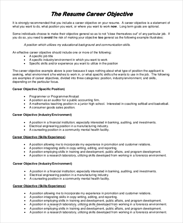 possible career objectives on resume