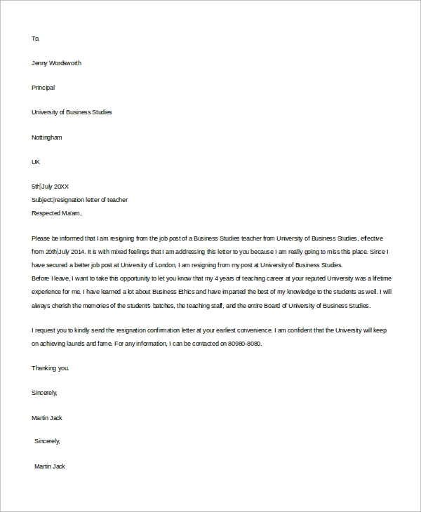 Example Of Resignation Letter