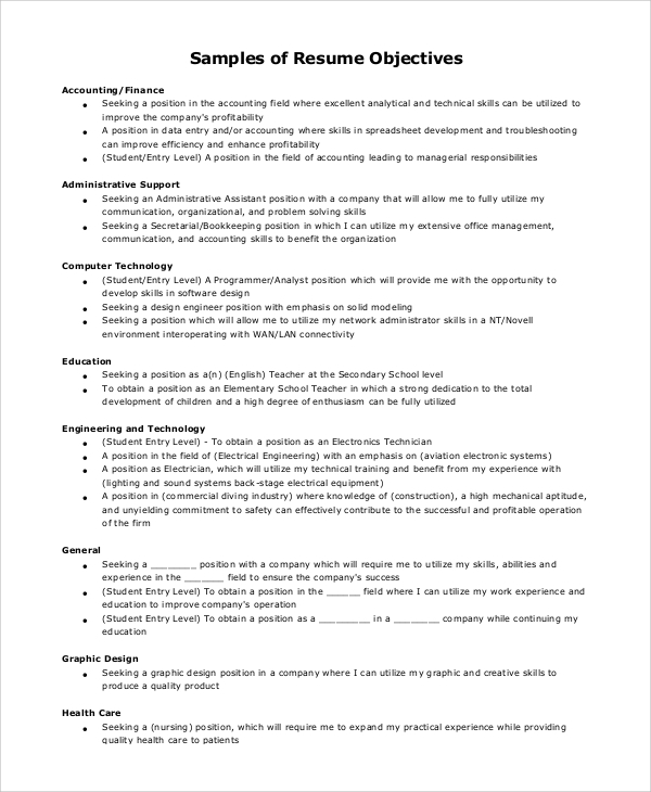 Example of a good objective on a resume