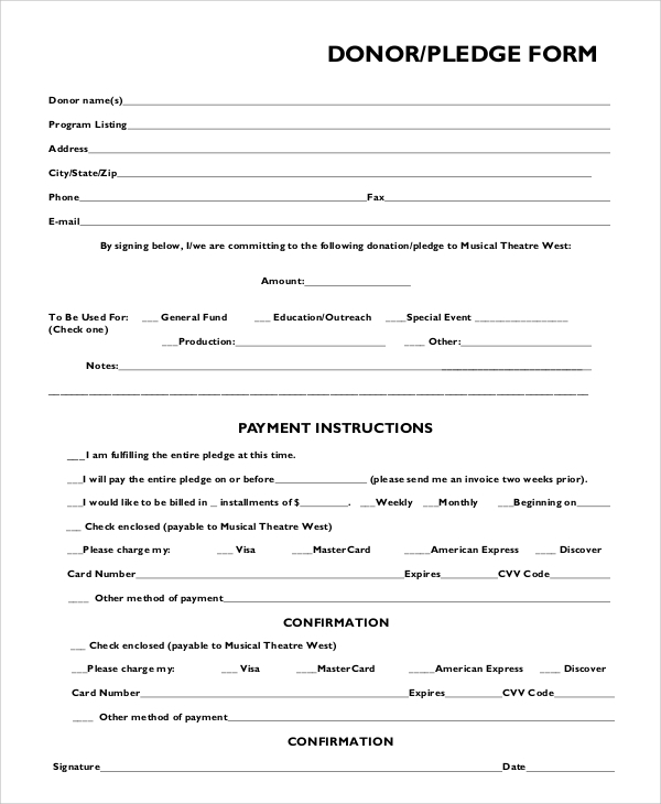 Exceptional Donation Pledge Form Sample