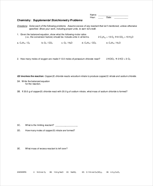 Sample Stoichiometry Worksheet 9 Examples in Word PDF – Mass-mass Stoichiometry Worksheet