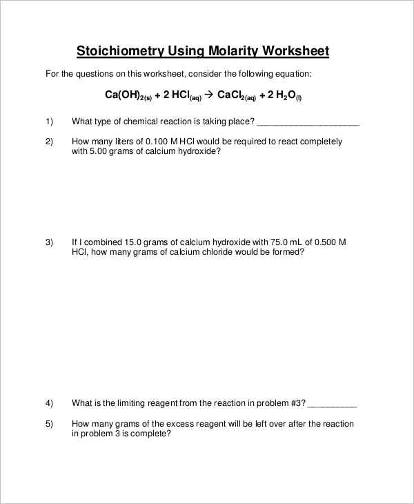 molarity stoichiometry worksheet - Stoichiometry Worksheet