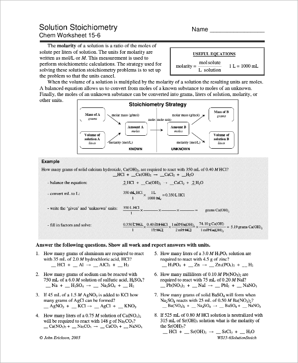 Sample Stoichiometry Worksheet 9 Examples in Word PDF – Stoichiometry Calculations Worksheet