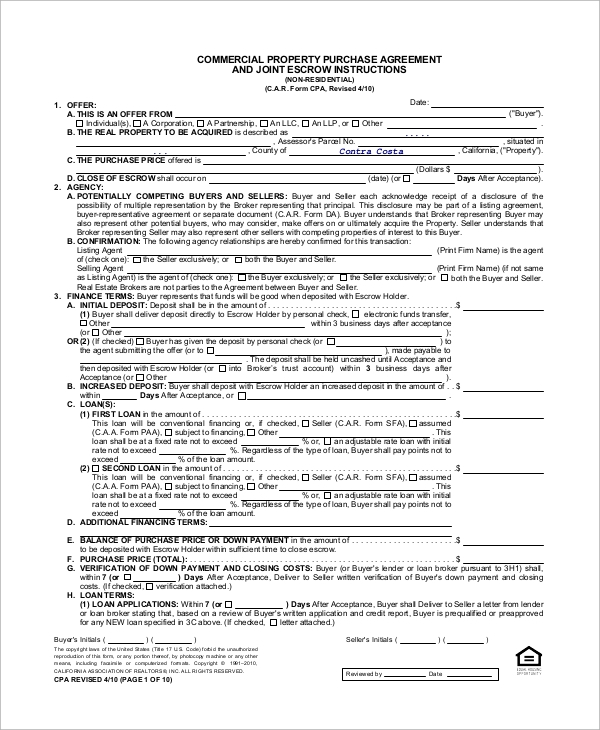 Sample Commercial Purchase Agreement 7 Examples in PDF – Purchase Agreements