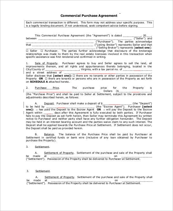 Commercial Transaction Purchase Agreement Example  Property Purchase Agreement Template