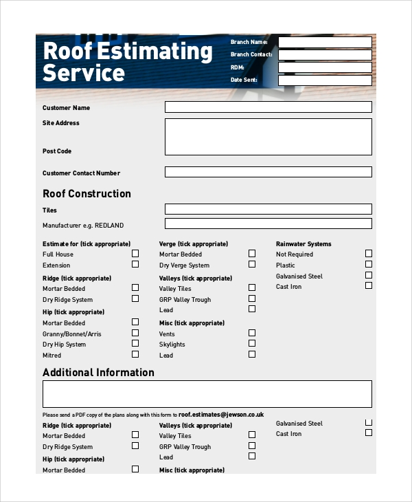 roofing estimate service form