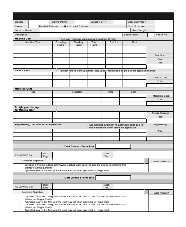 construction estimator form