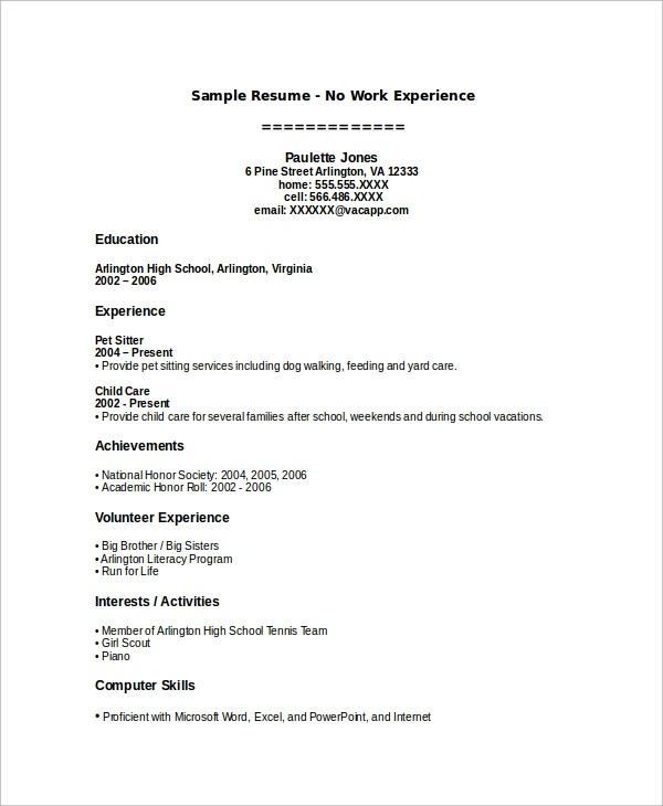 Free 7 Sample Work Resume Templates In Ms Word Pdf