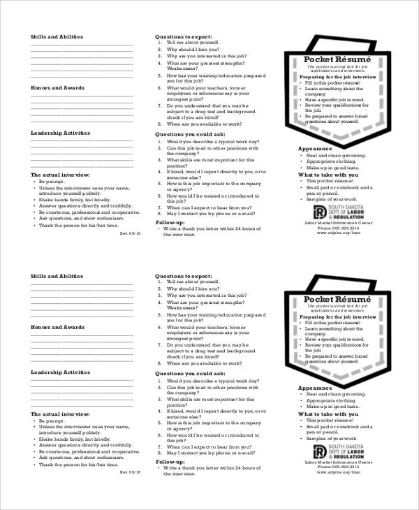 pocket work resume