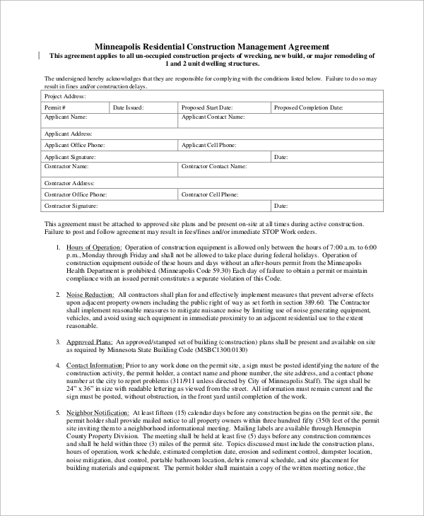 8+ Sample Construction Management Agreements | Sample Templates
