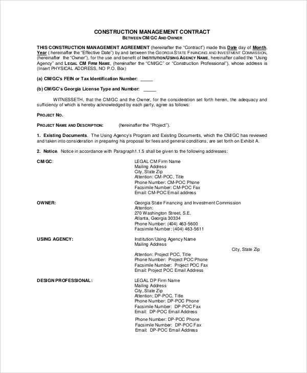 Sample Construction Management Agreement   Examples In Word Pdf