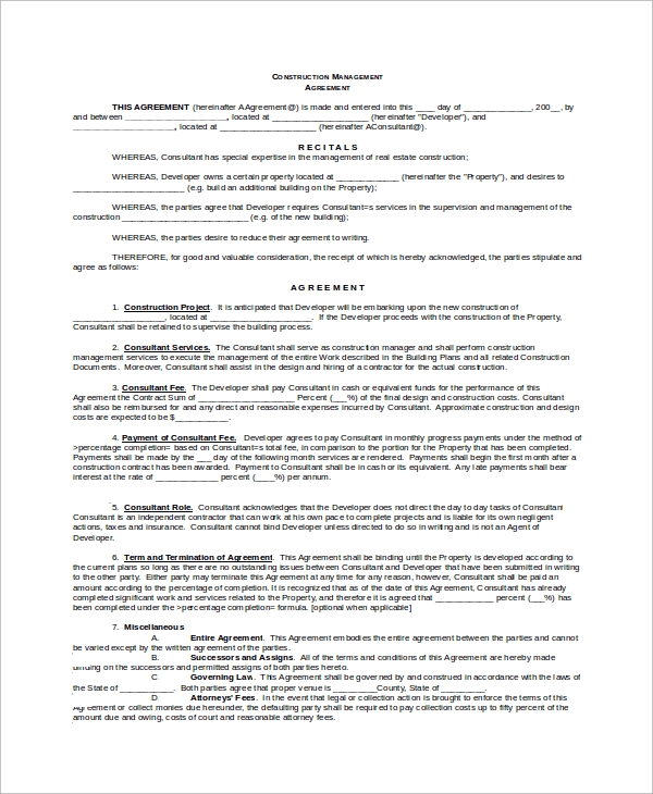 Sample Construction Management Agreement - 8+ Examples In Word, Pdf