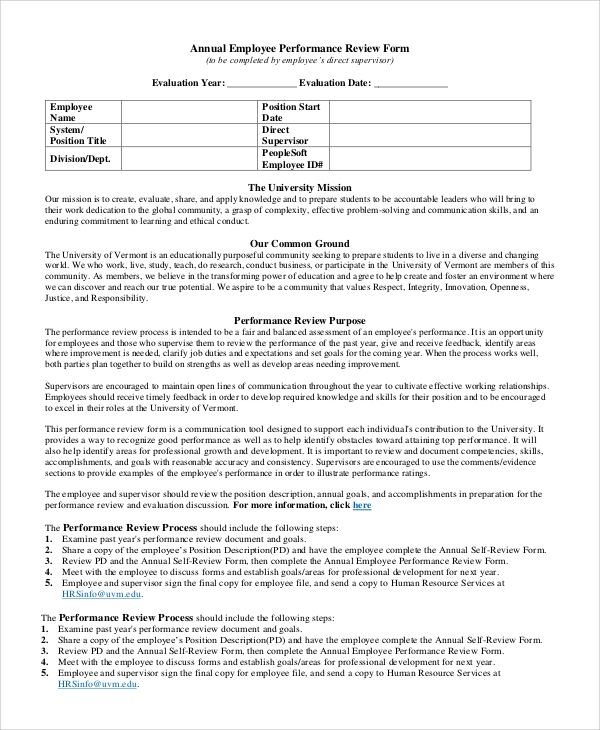Employee Annual Review Form