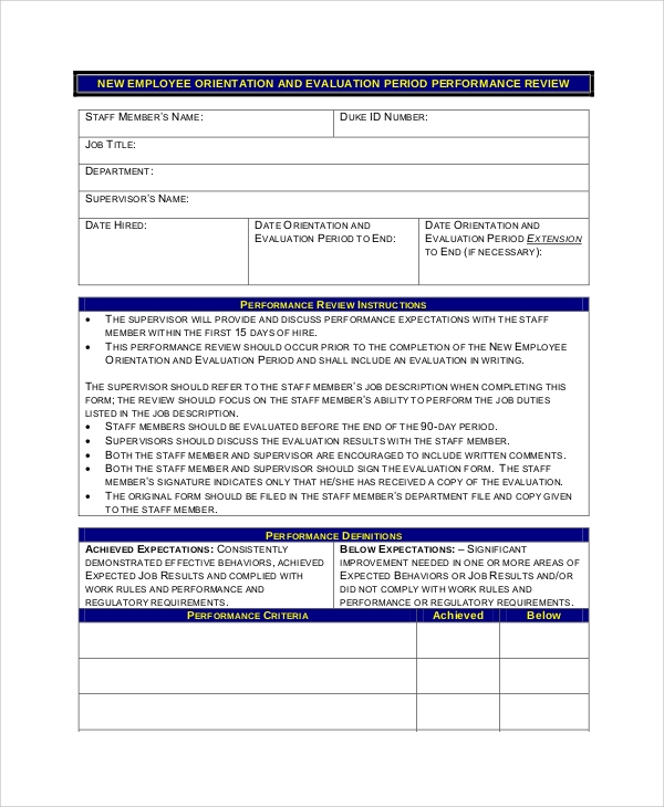 Sample Employee Review Form 7 Examples in PDF Word – Performance Review Format