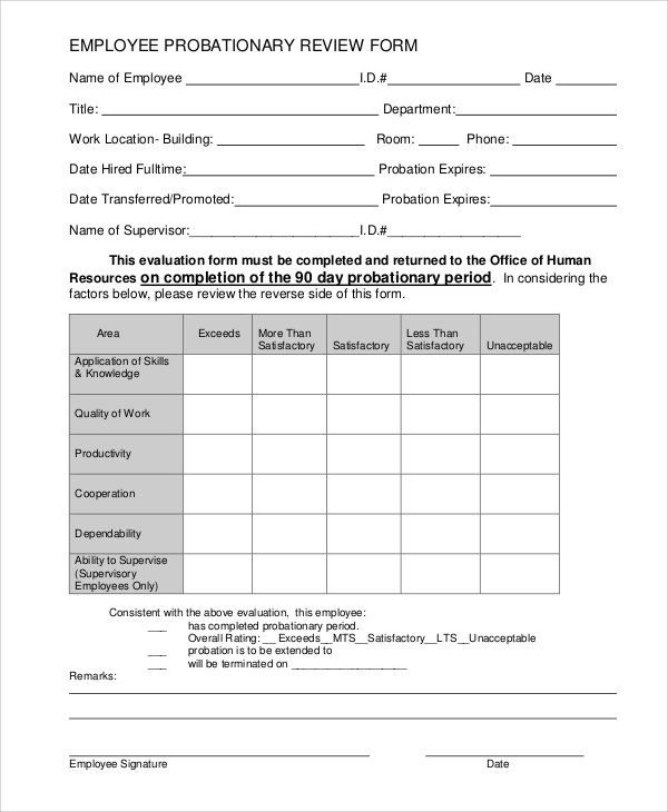 probation meeting template - 7 sample employee review forms sample templates