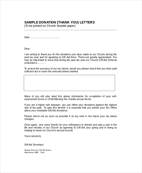 Sample Thank You Letter For Donation - 8+ Examples In Word, Pdf