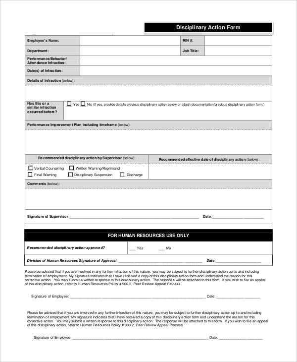Sample Disciplinary Action Form   Examples In Pdf Word